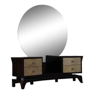 1920's Vintage French Art Deco Round Mirrored Ladies Vanity Set For Sale