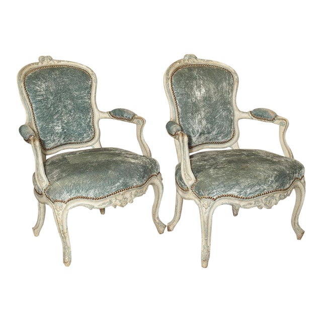 Pair of Period French Louis XV Blue and Cream Lacquered Cabriolet Armchairs For Sale