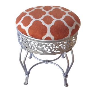 Pumpkin and Industrial Gray Vanity Stool For Sale