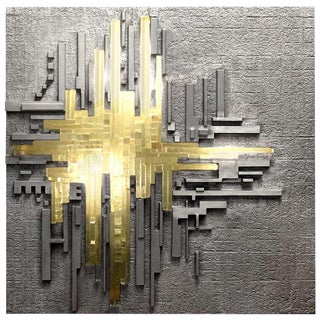 Cast Aluminum and Glass Illuminated Wall Sculpture by Poliarte For Sale