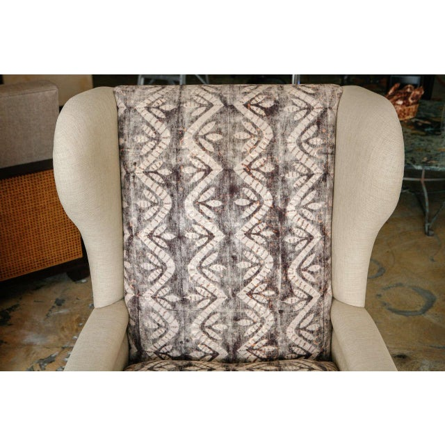 Tan Bohemian Wingback Pair Chairs Early 20th Century For Sale - Image 8 of 11