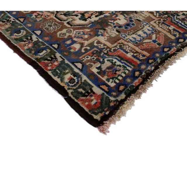 75762, vintage Persian bakhtiari accent rug, kitchen, bath mat, foyer or entryway rug. This hand-knotted wool vintage...