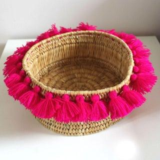 Moroccan Fuchsia Tassel Small Basket Preview