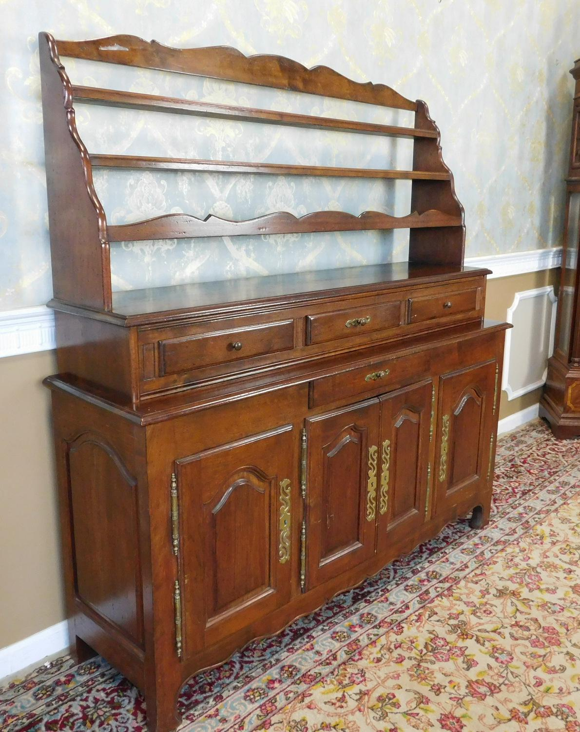 Quality French Made Oak Dining Room Buffet w/ Open Plate Rack Hutch c1970s - Image  sc 1 st  Chairish & Quality French Made Oak Dining Room Buffet w/ Open Plate Rack Hutch ...