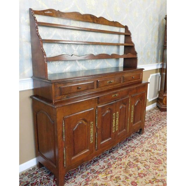 Quality French Made Oak Dining Room Buffet w/ Open Plate Rack Hutch c1970s - Image 4 of 11