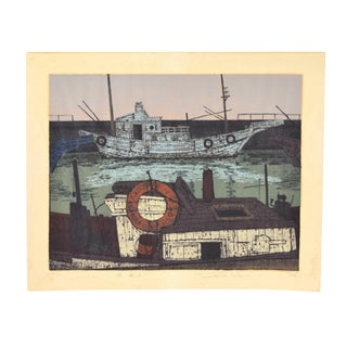 Mid-Century Modern Japanese Woodblock - Print Commercial Fishing Boats by Fukushima For Sale