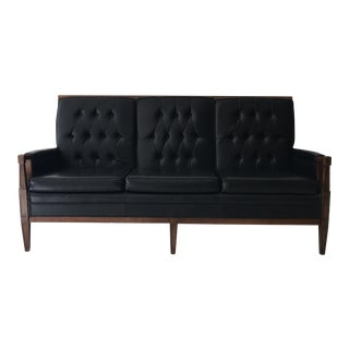 Mid-Century Tufted Black Vinyl Sofa For Sale