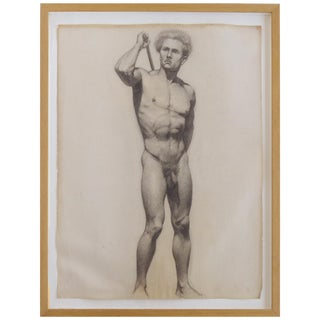 Carl T. Pfeufer Male Nude Study Pencil Drawing For Sale