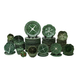 Vintage Bordallo Pinheiro Cabbage Leaf Dinnerware - Set of 94 For Sale