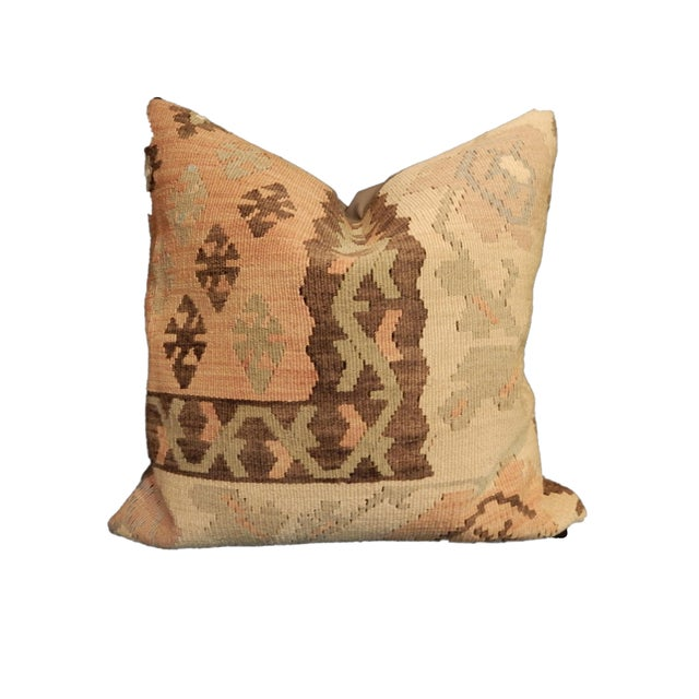 A superb Large custom made old Tribal Turkish kilim rug pillow in amazing colors and geometric design. The perfect...
