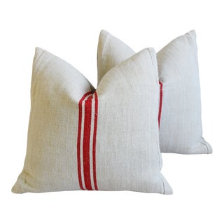 """French Country Red Striped Grain-Sack Feather/Down Pillows 22"""" Square - Pair For Sale"""