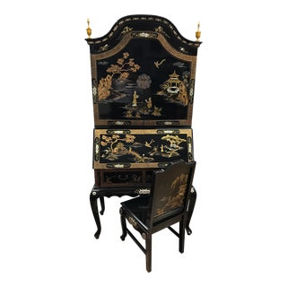 Asian Black Laquered Chinoiserie Secretary Desk and Chair For Sale