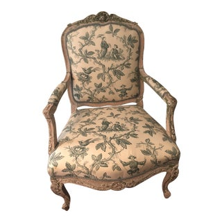 Antique French Chinoiserie Silk Upholstered Bergere Chair