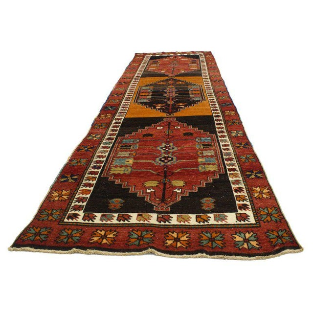 Contemporary Vintage Turkish Oushak Runner with Modern Tribal Style, Hallway Runner For Sale - Image 3 of 5