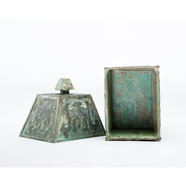 20th Century Chinese Lawrence & Scott Verdigris Bronze Wine Box For Sale In Seattle - Image 6 of 9