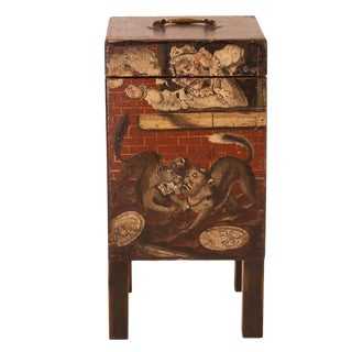 19th Century Small Painted Four-Bottle Cellarette For Sale