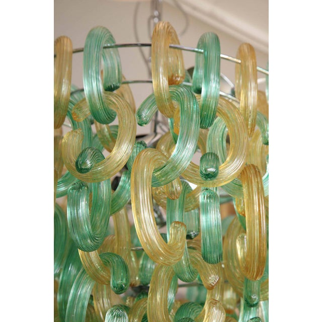 "Murano Glass Green and Gold ""C"" Link Chandelier For Sale In New York - Image 6 of 9"