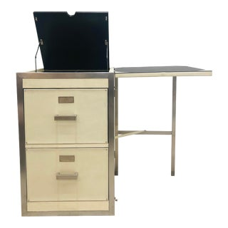 Campaign Style Extendable File Cabinet / Desk For Sale