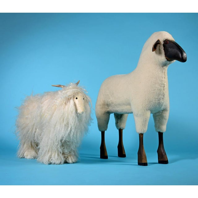 Vintage Sheep or Mountain Goat With Natural Horns, Made by Hand Circa 1960s For Sale In Detroit - Image 6 of 10