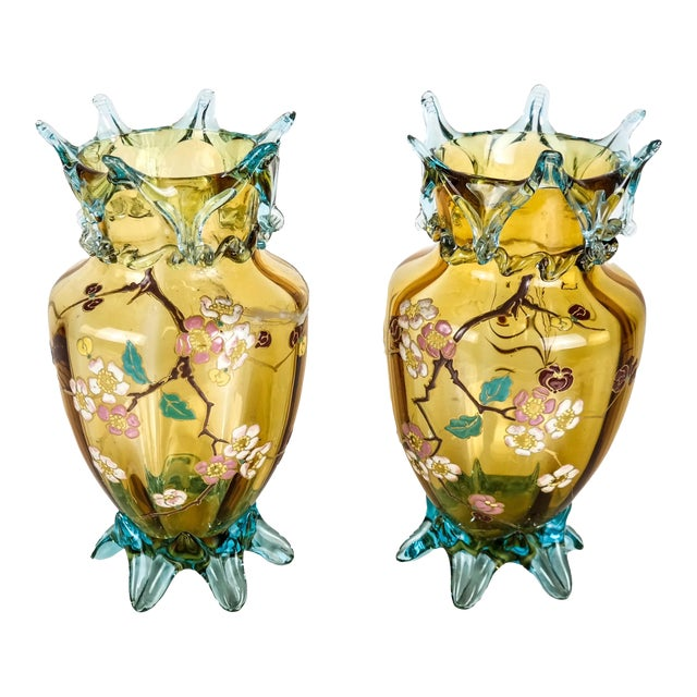 Mid 20th Century Large Amber Glass Vases With Cherry Blossom Relief - a Pair For Sale