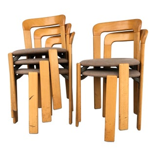 Bruno Rey for Kusch+Co West Germany Stackable Chairs in Beech - Set of 5 For Sale