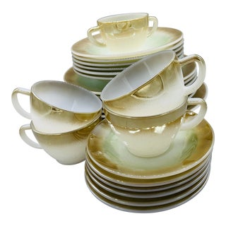 Green and Brow Edge Federal Glass Company's Mesa Dinnerware - 25 Pieces For Sale