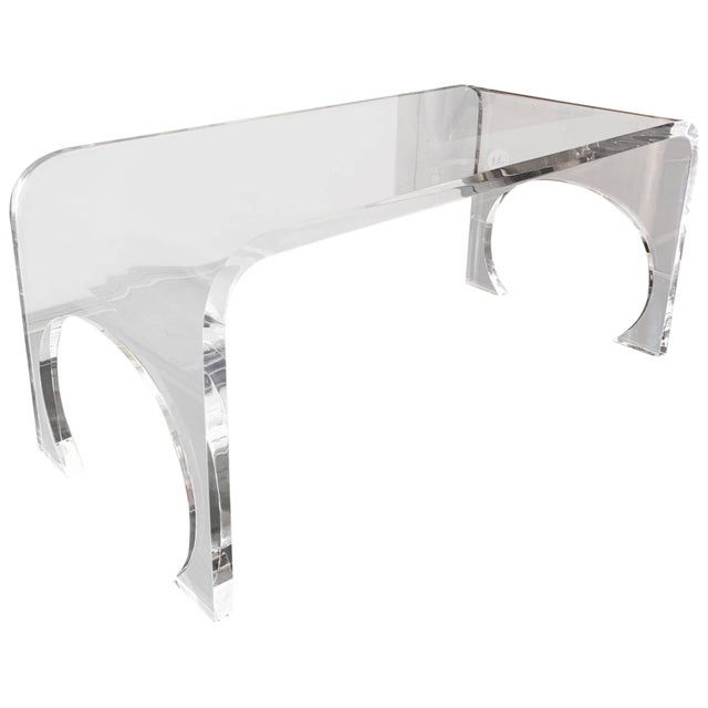 Lucite Waterfall Coffee Table in the Manner of Charles Hollis Jones For Sale - Image 11 of 11