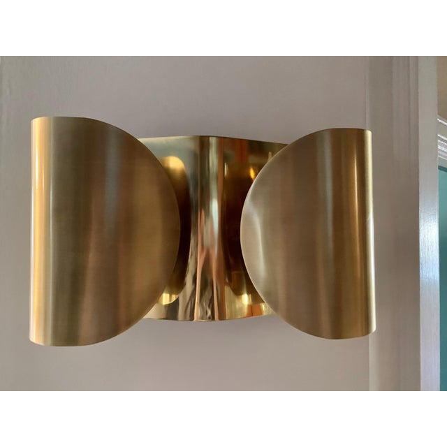 Contemporary Mid-Century Modern Folded Brass Sconces - a Pair For Sale - Image 3 of 8