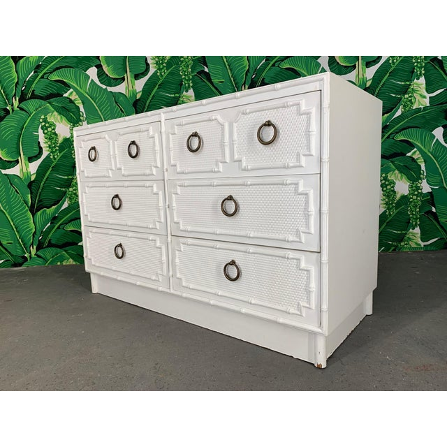 Faux Bamboo Double Dresser by Omega For Sale - Image 10 of 10