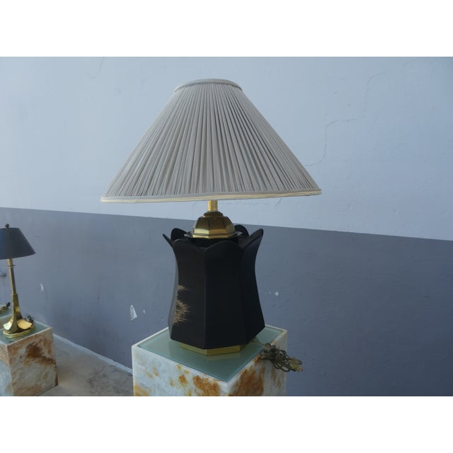 70's Brass and Black Ceramic Decorator Accent Lamp For Sale - Image 4 of 13