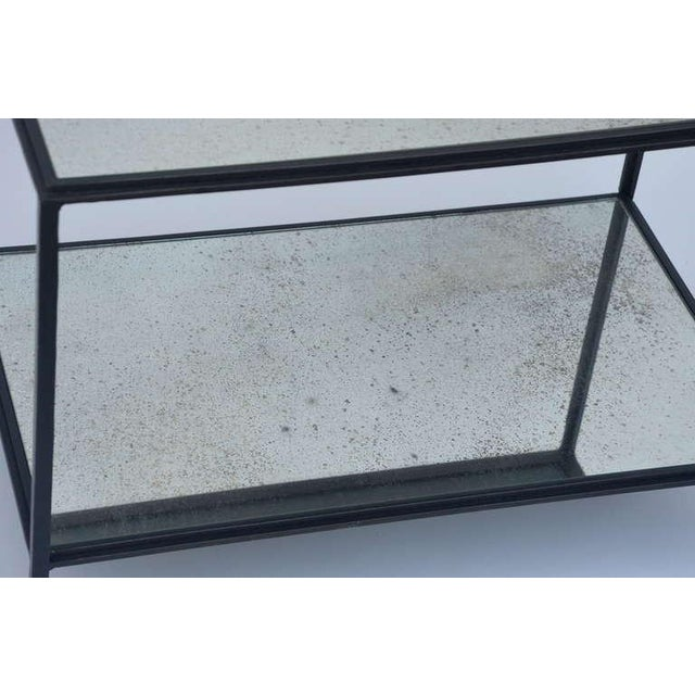 Contemporary Design Frères 'Rectiligne' Wrought Iron and Mirror End Tables - a Pair For Sale In Los Angeles - Image 6 of 11