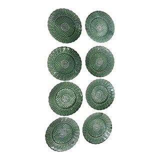 Green Basketweave Salad Plates - Set of 8 For Sale