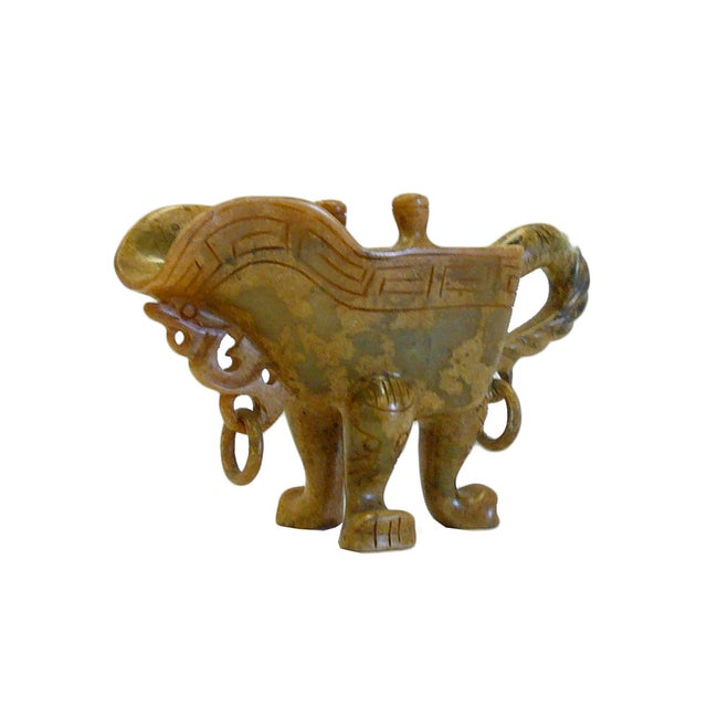 Chinese Oriental Stone Carved Tri-Leg Cup - Image 3 of 6