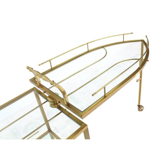 Unusual Iron Shape Folding Brass Tea Cart For Sale In New York - Image 6 of 10