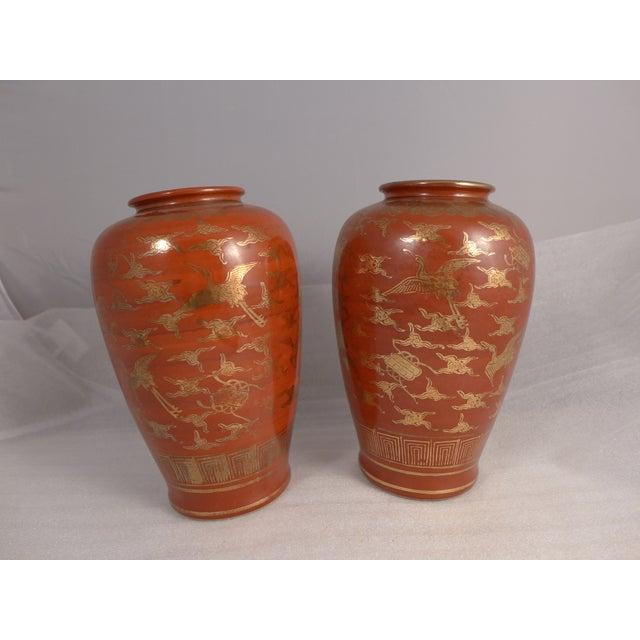 Japanese Kutani Eiraku Red Gold Kinrande Porcelain Vases - aPair For Sale In Boston - Image 6 of 9