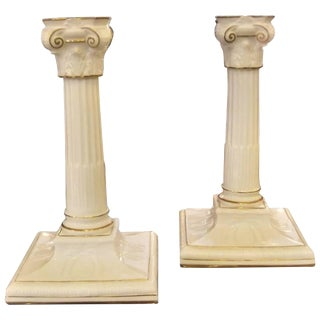 Antique English Royal Worcester Neoclassical Gilt Porcelain Candlesticks - a Pair For Sale