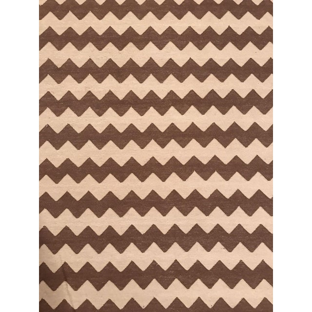 Madeline Weinrib Brown and White Chevron Area Rug - Image 1 of 4