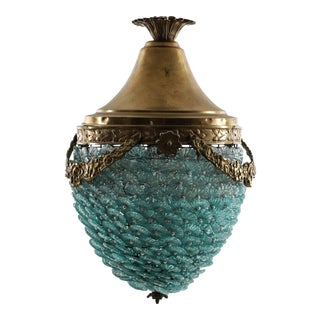 1900's Empire Style Turquoise Glass Pendant For Sale