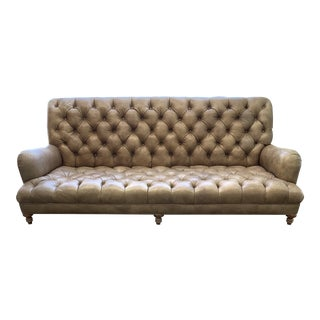Low Profile Distressed Chesterfield Sofa For Sale