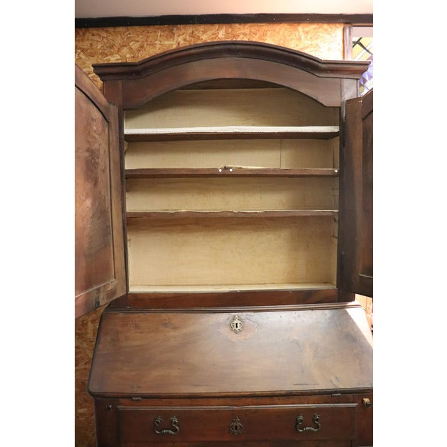 Brown 18th Century Italian Antique Louis XV Walnut Carved Trumeau, Secretaire For Sale - Image 8 of 12