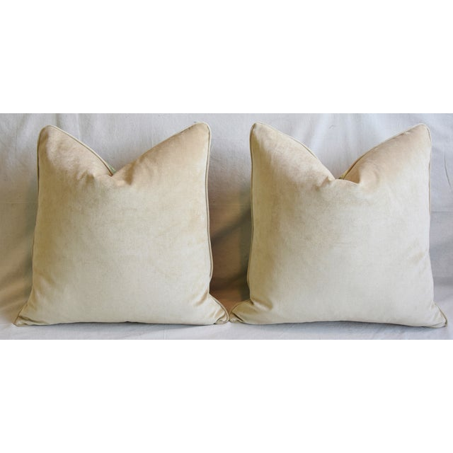 "Woodland Toile Deer & Velvet Feather/Down Pillows 25"" Square - Pair For Sale - Image 10 of 13"