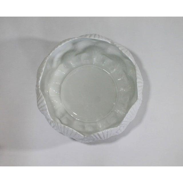 Hollywood Regency Vintage Italian White Ceramic Shell Planter Bowl For Sale - Image 3 of 5