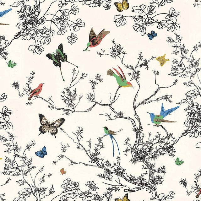 Sample - Schumacher Birds & Butterflies Luxe Wallpaper in Multicolor on White For Sale In Charlotte - Image 6 of 6