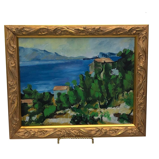 Vintage French Painting Replica of the Bay of l'Estaque by Cezanne For Sale In Dallas - Image 6 of 6