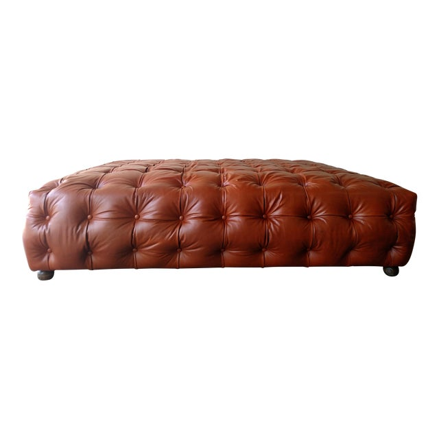 Saddle Brown Tufted Leather Ottoman - Image 6 of 6