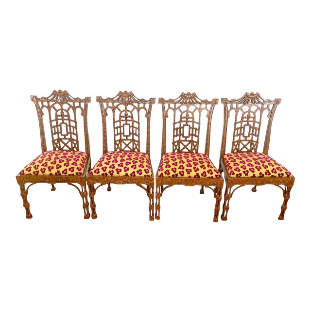 Vintage Pagoda Wooden Carved Dining Chairs - Set of 4 For Sale