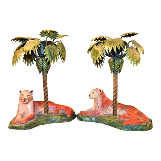 Vintage Art Deco Metal Leopard and Palm Tree Candleholders - a Pair - a Pair For Sale