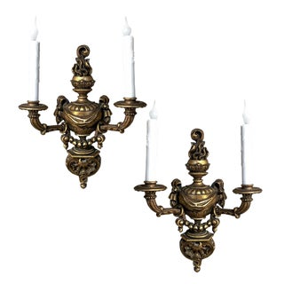 Pair Italian Hand-Carved Louis XVI Giltwood Sconces For Sale