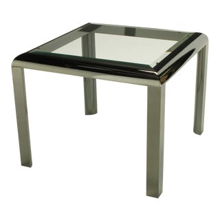 DIA End Table In Radiused Gunmetal With Beveled Glass For Sale