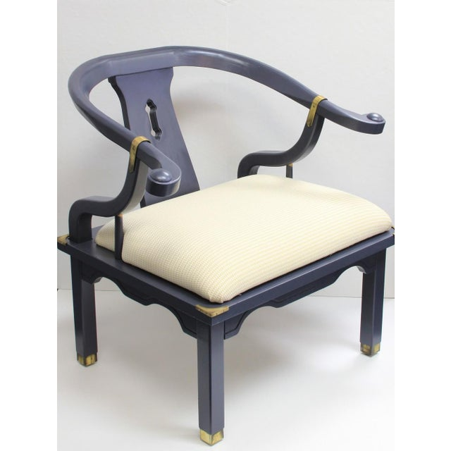 Navy Mao Chair With Brass Trim - Image 2 of 5